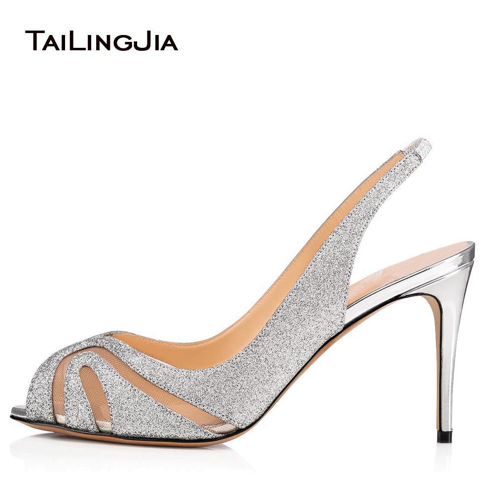 3125367acb15 Peep Toe High Heel Sandals Sliver Glitter Mesh Slingbacks Women Elegant Heels  Ladies Summer Shoes Wedding Shoes Size 46 2018 Tall Gladiator Sandals Tan  ...