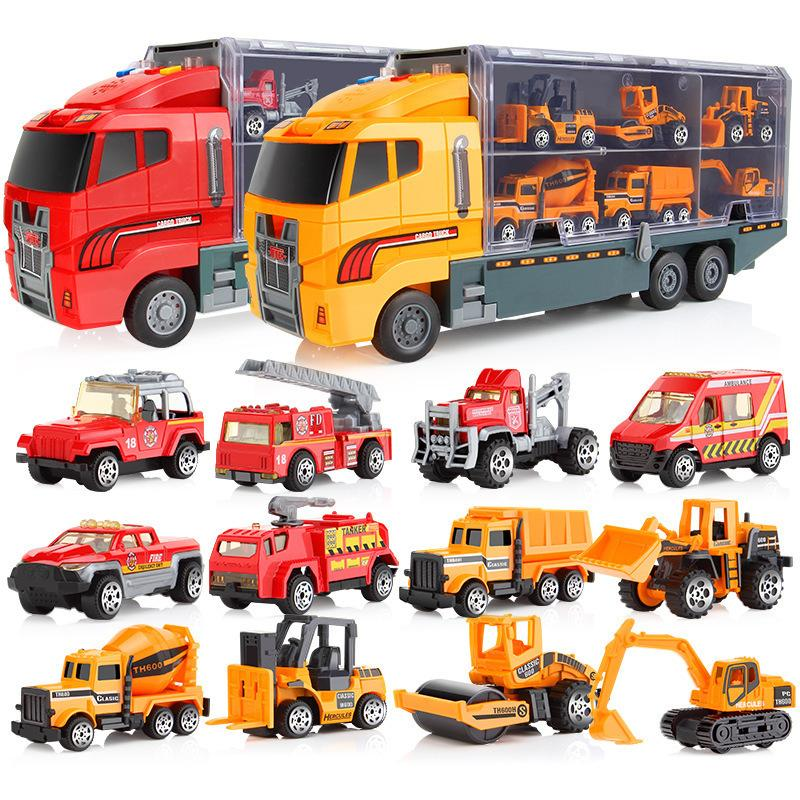 1:64 Scale Miniature The Models Of Cars Children Van Diecast Tractor Fire  Engine Excavator Garbage Truck Ambulance Boys Toys J190525