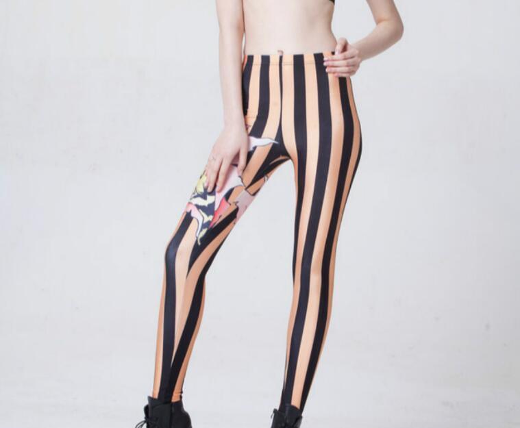 ffba9a35726 Xxxl Leggings Animal Print Capris Stripe Hot Women Sexy Tattoo Leg Party  Dancer Punk Pants Skinny Clubwear Legging Trousers 4XL