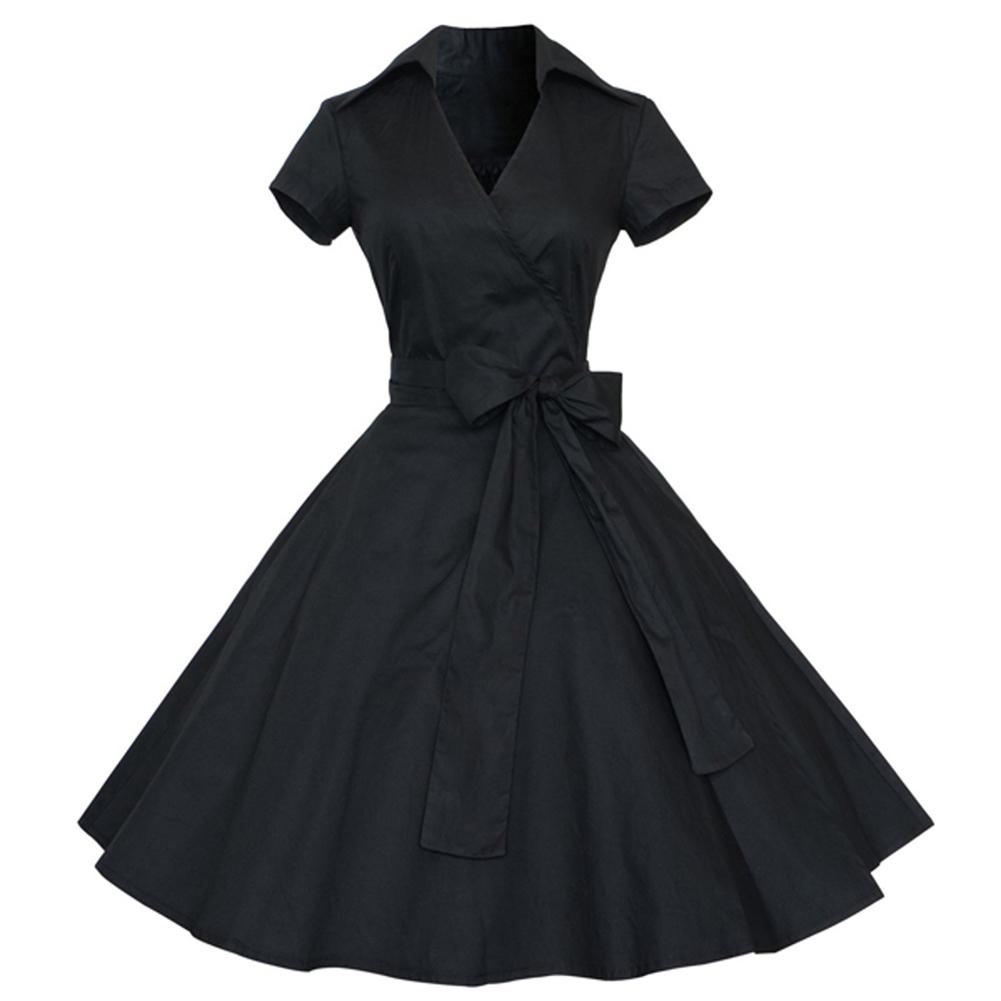 2019 Kenancy Elegant Style Audrey Hepburn 1960s Black Vintage Dress Plus  Size Summer Women Retro Dress Party Vestidos Cotton Dress Y19012201 From  Tao02 71a0fd4e7c28