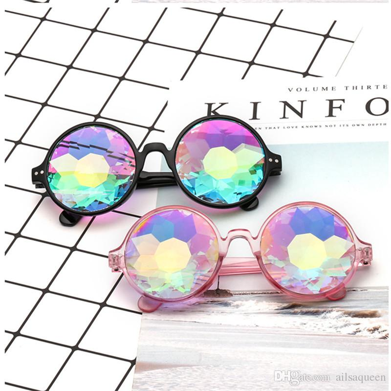 Round Kaleidoscope Sunglasses Retro Party Designer Rave Festival MOSAIC Glasses Eyewear For Female Male Free Shipping