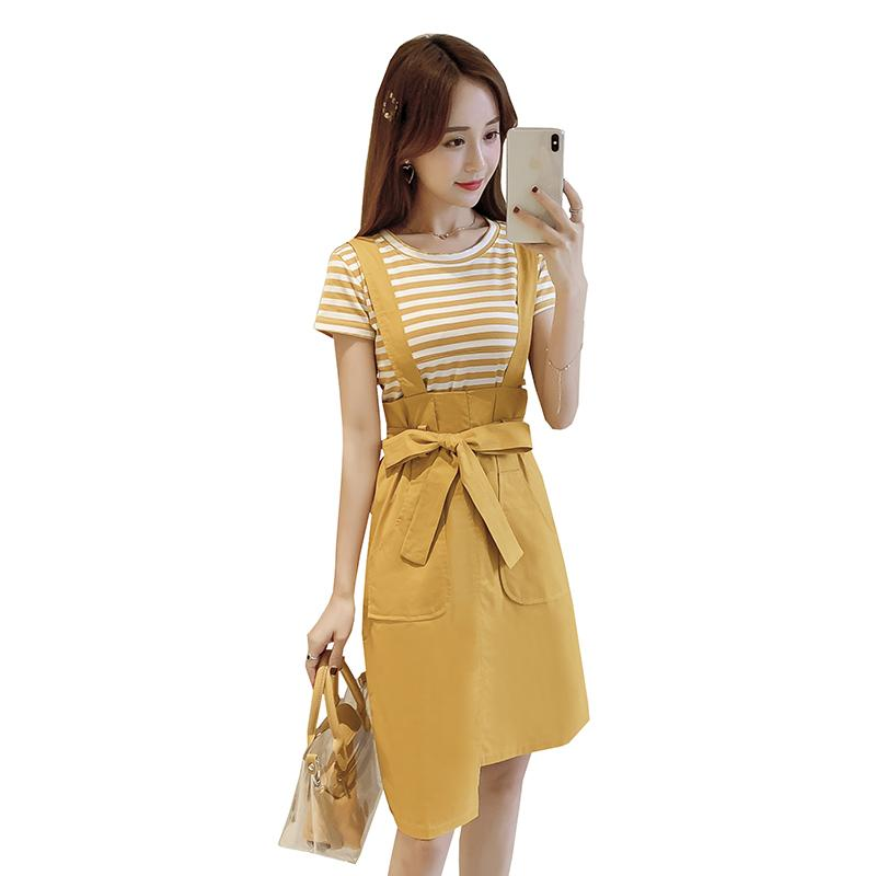 Yellow maternity nursing clothes set stripe lactation T-shirt shoulder-straps dress suits postpartum women breastfeeding twinset