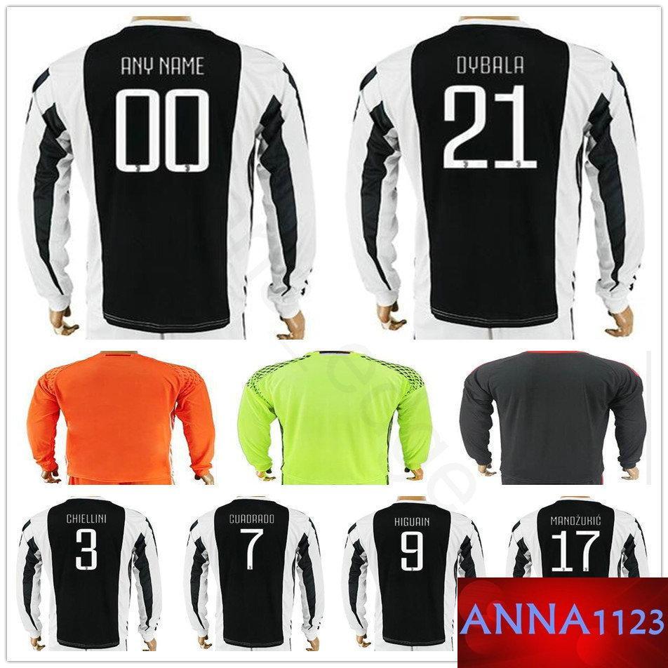 2019 Custom Long Sleeve Football Jersey Shirt BUFFON ...