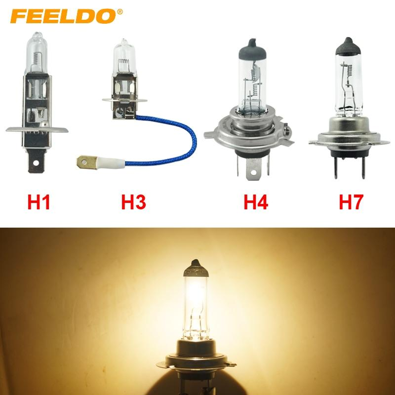 FEELDO 1PC Warm White H1 H3 H4 H7 100W Halogen Bulb Truck Bus Headlight Foglight Driving Lamp 3000K DC 24V #FD-2332