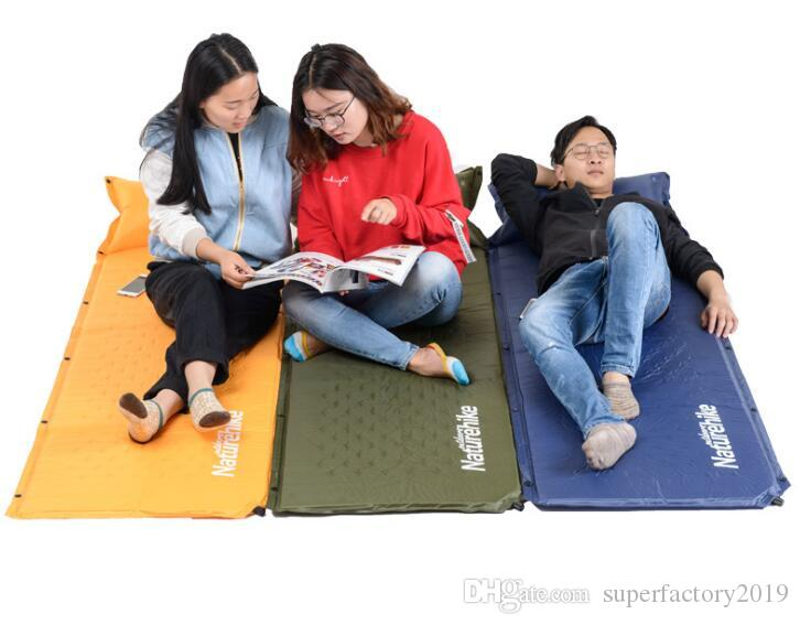 Wholesale- Naturehike Self Inflatable Sleeping Mat Mattress With Pillow Self-Inflating Sleeping Pad Foldable Bed Camping Tent Single Mat 201