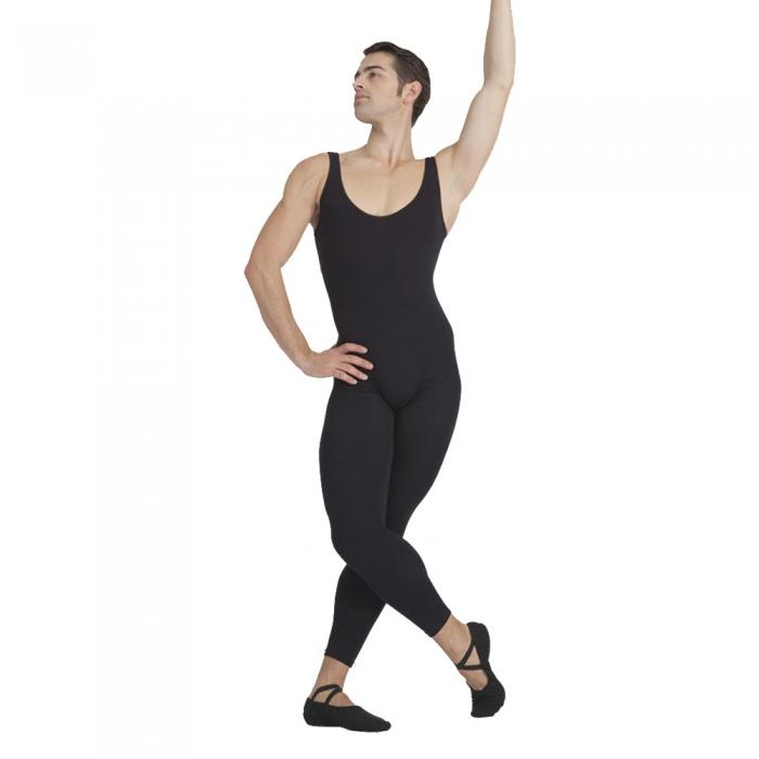 Mans One Piece Black Tank Unitard Men Lycra Ballet Sleeveless Full Body Tight Jumpsuit with mid back
