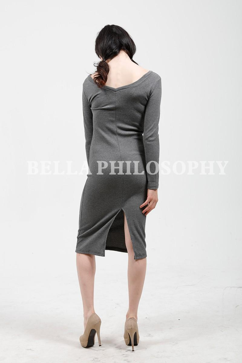 Fall Winter Women Stretchy Knitted Sweater Red Navy Blue Gray V Neck Long Sleeve Skinny Pencil Dress