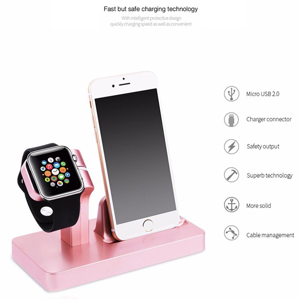 d8ce84a75ae Soporte Celular Base De La Estación Del Cargador Inalámbrico Para IPhone 7  8 Plus X QI Cargador Dock Stand Para Apple Watch 3 2 1 Soporte Para  Teléfono De ...