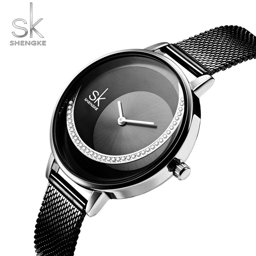 Shengke Brand Women Watch Creative Rhinestone Cool Black Stainless Quartz Watches Lady S Fashion Casual Waterproof Gift Clock