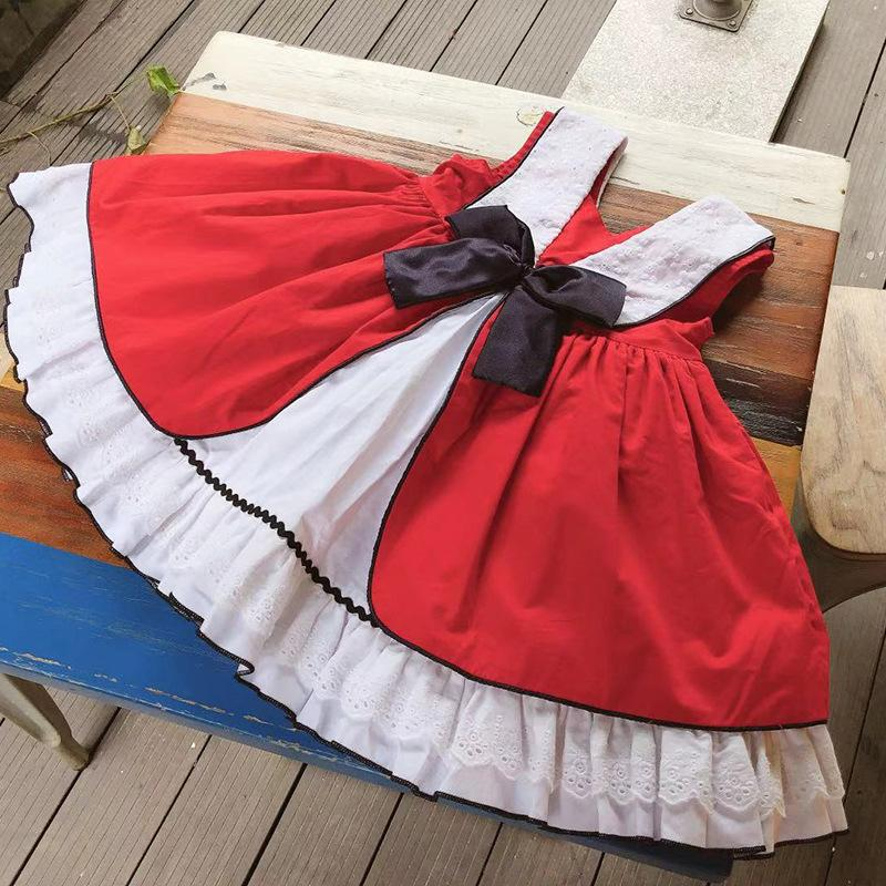 a0cdc6013 Compre Crianças Roupas De Grife Menina Vestido Espanha Estilo Verão Pet Pan  Collar Sem Mangas Cor Vermelha Arco Projeto Vestido Lolita Princesa Menina  ...