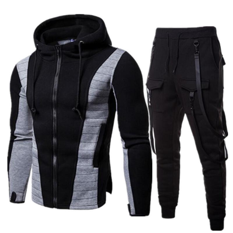 d26cb457d6c7 Acquista Tuta Da Uomo Di Marca Set Primavera Autunno Inverno Giacca +  Pantaloni Felpe 2 Pezzi Felpe Sportive Tuta Sportiva Cappotto Sportswear  Abbigliamento ...