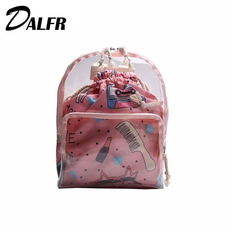 DALFR Cute Girls Backpack Brand Transparent Clear Female School bag For Teenagers Fashion Women Mini Composite Ladies Backpack