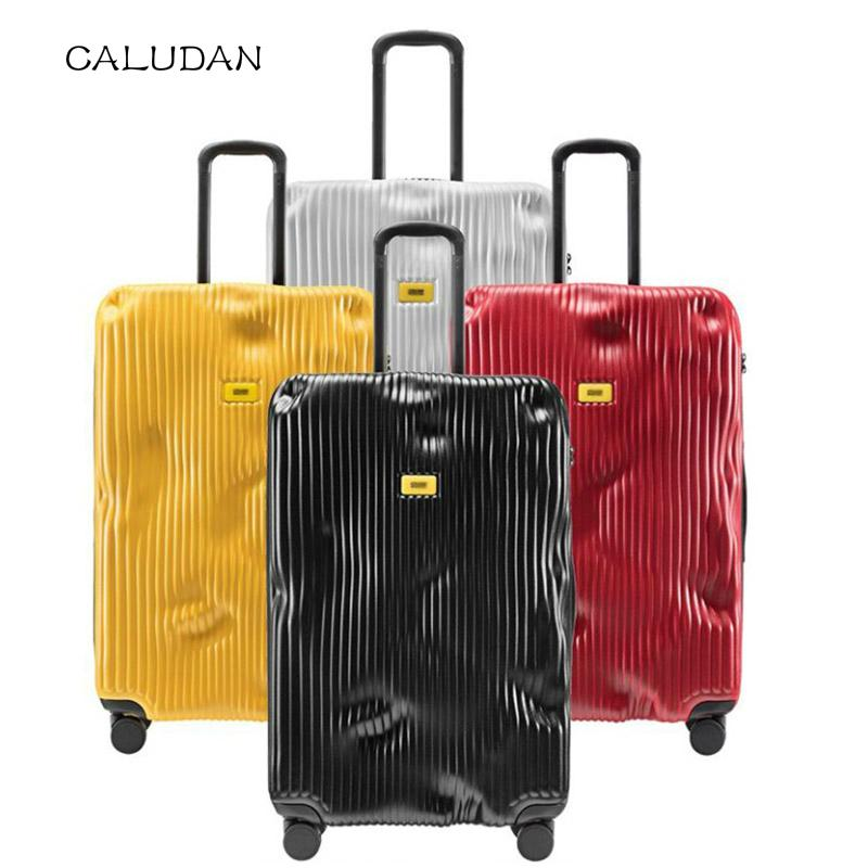 "20"" 24"" 28"" Striped Italy hard rolling luggage case ABS PC baggage bag vintage suitcase on wheel"