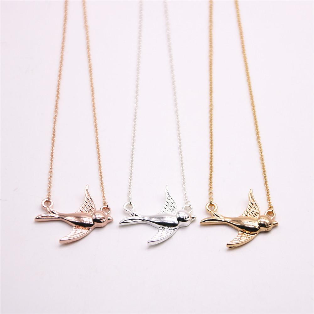 Fashion Rose gold plating necklace Solid swallow necklaces for women wholesale and mixed color