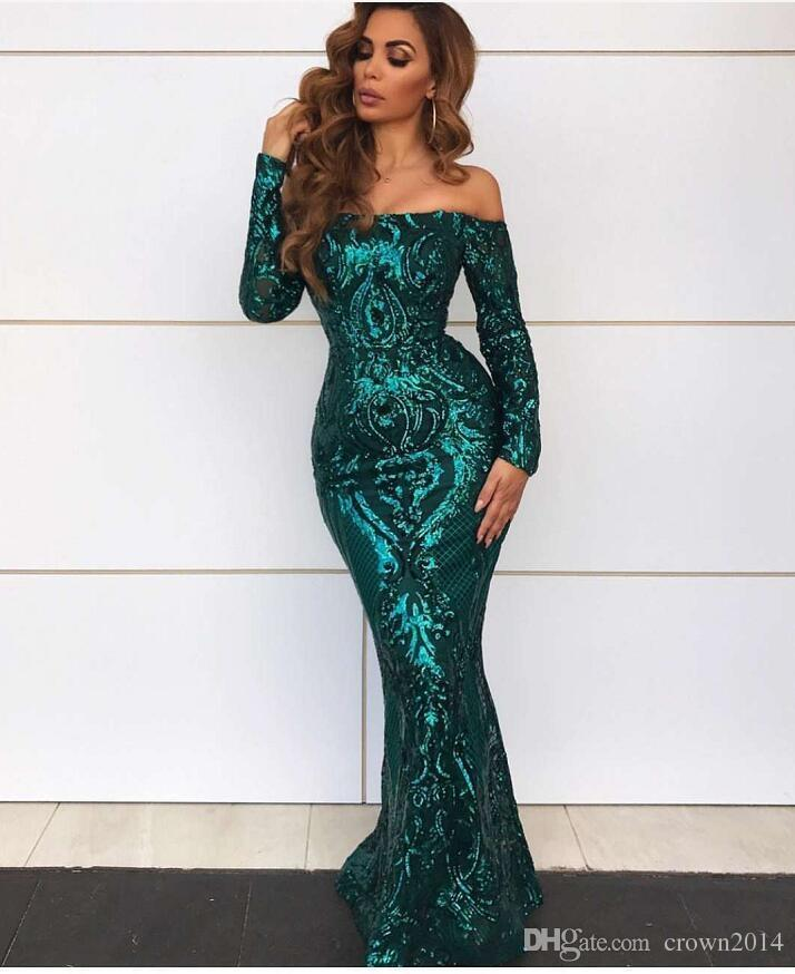 368deb462b32 Dark Green Sexy Long Prom Dress Mermaid Lace Sequin Off The Shoulder Long  Sleeve 2019 Elegant Formal Evening Party Wear Gowns New Arrival Canada 2019  From ...
