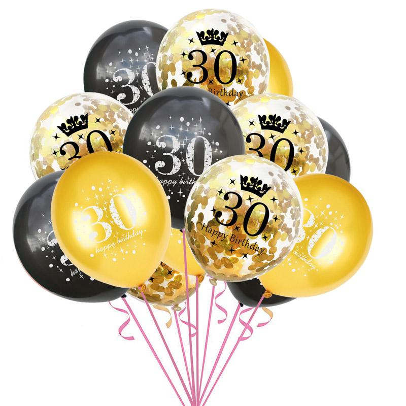 18 30 40 50 60 Years Birthday Decoration Gold Confetti Balloons Happy 30th Crown Latex Ballon Party Helium Balloon Cheap Decorations For
