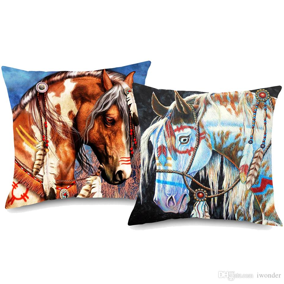 Horse Lion Animal Cushion Covers Watercolor Oil Painting Thick Cotton Linen Pillow Cover 45x45cm Sofa Chair Decoration
