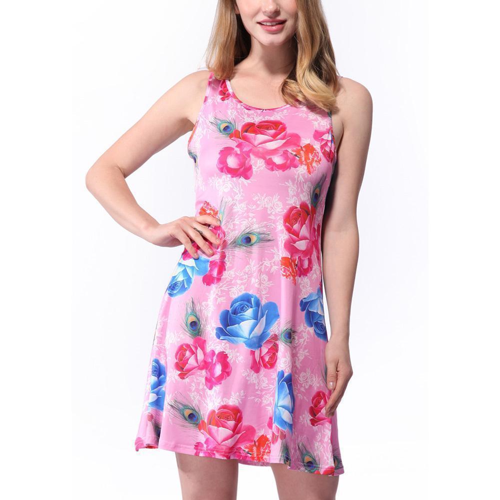 9db5c3715f028 2019 Summer Sexy Women Mini Vest Dress Geometric Floral Print Scoop Neck  Sleeveless Sundress Colorful Skater Dress Yellow/Pink