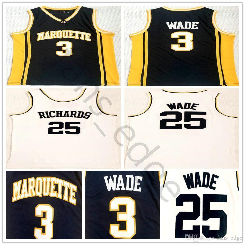 9090647c864 2019 Ncaa Marquette Golden Eagles Dwyane College  3 Wade Blue Jersey  Richards Dwyane High School  25 Wade White Stitched Basketball Jerseys From  ...