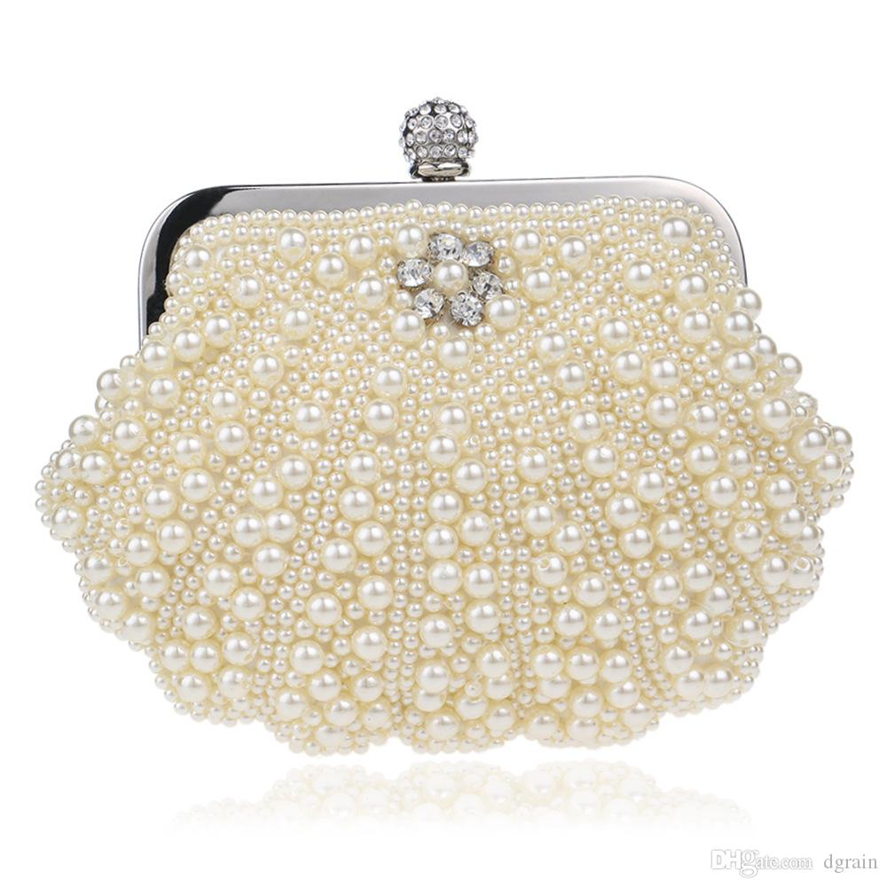 Dgrain Pearl Women Crystal Evening Clutches Bags Wedding Bride Clutch Purse  Prom Party Handbags Pearl Minaudiere Handbag Purses Luxury Bags Womens Bags  ... 05a196de7e32