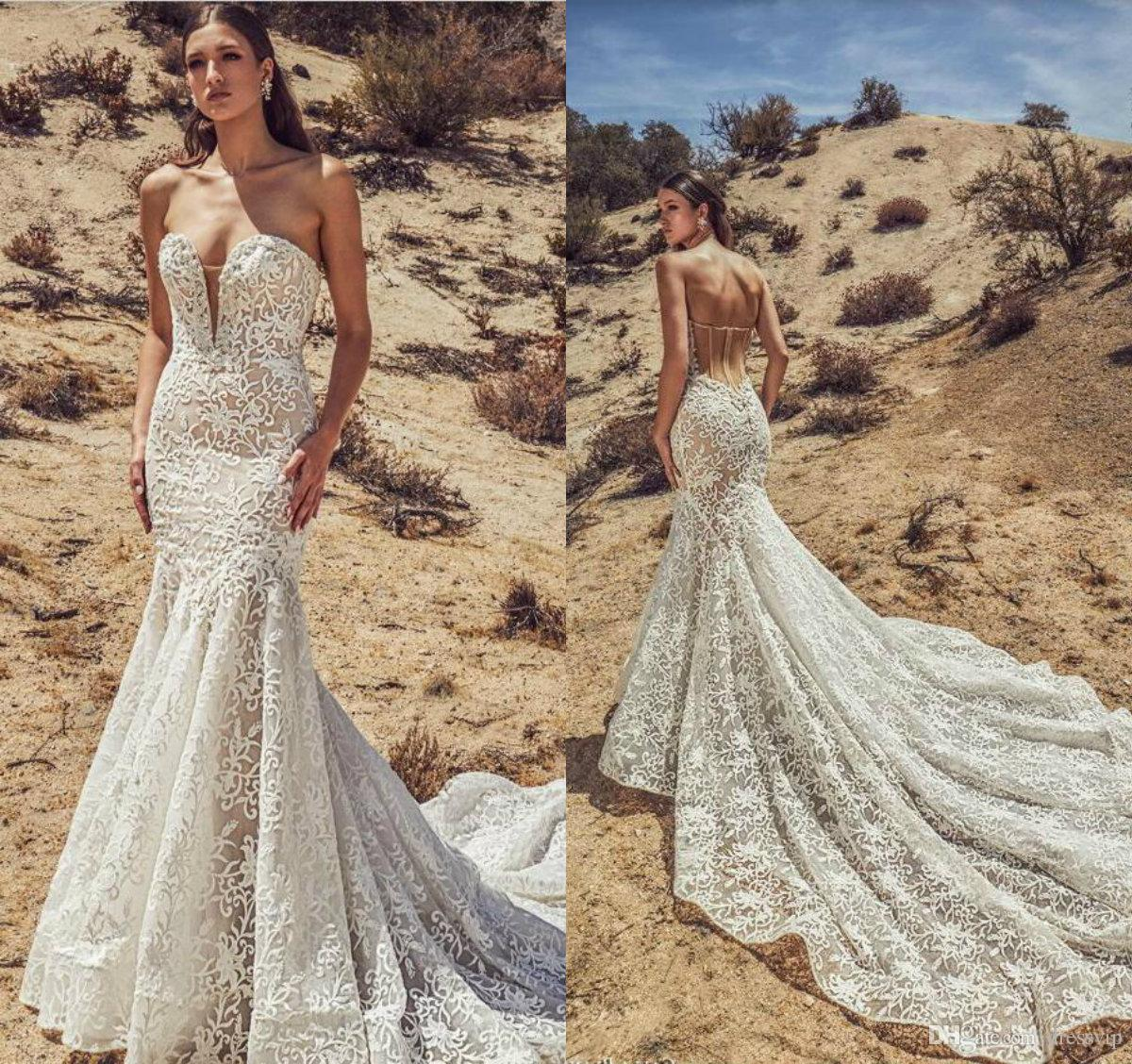 2019 Mermaid Wedding Dresses Sweetheart Court Train Lace