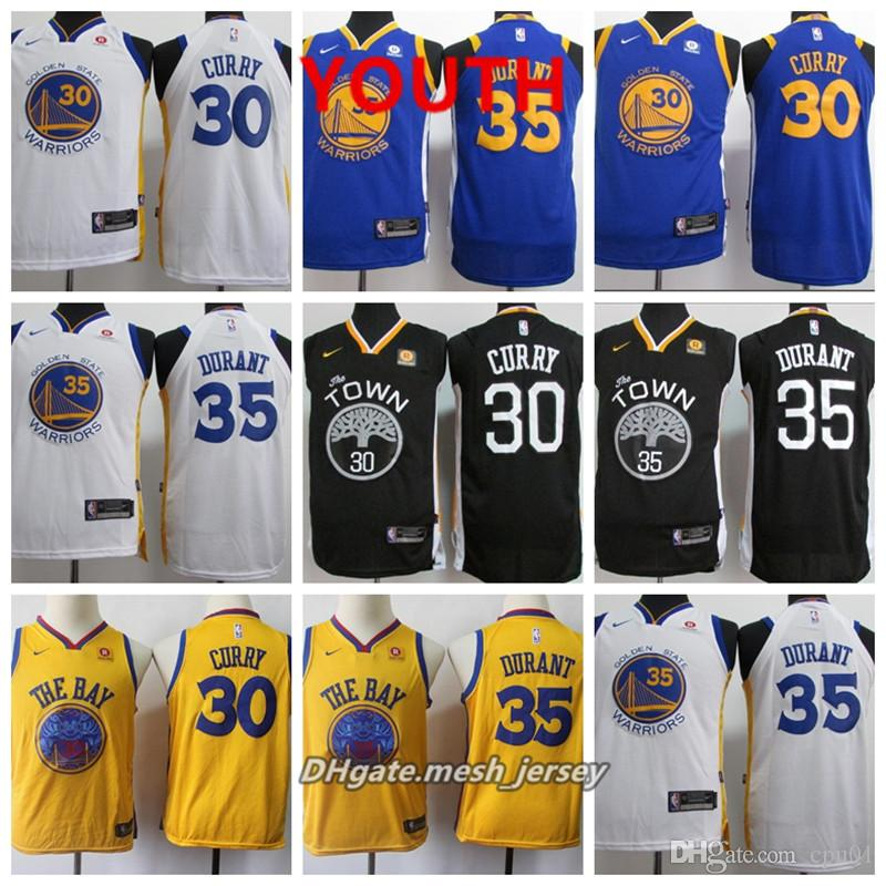 on sale cab06 bf630 Youth Golden State Jersey Warriors Kevin Durant Stephen Curry Stitched  Baketball Jerseys S-XL - Blue White Black Golden