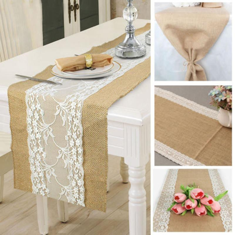 Hot Hessian Burlap Table Runner Weding Flower Lace Natural Rustic Vintage Home Decor Fashion Linen Runners Leather