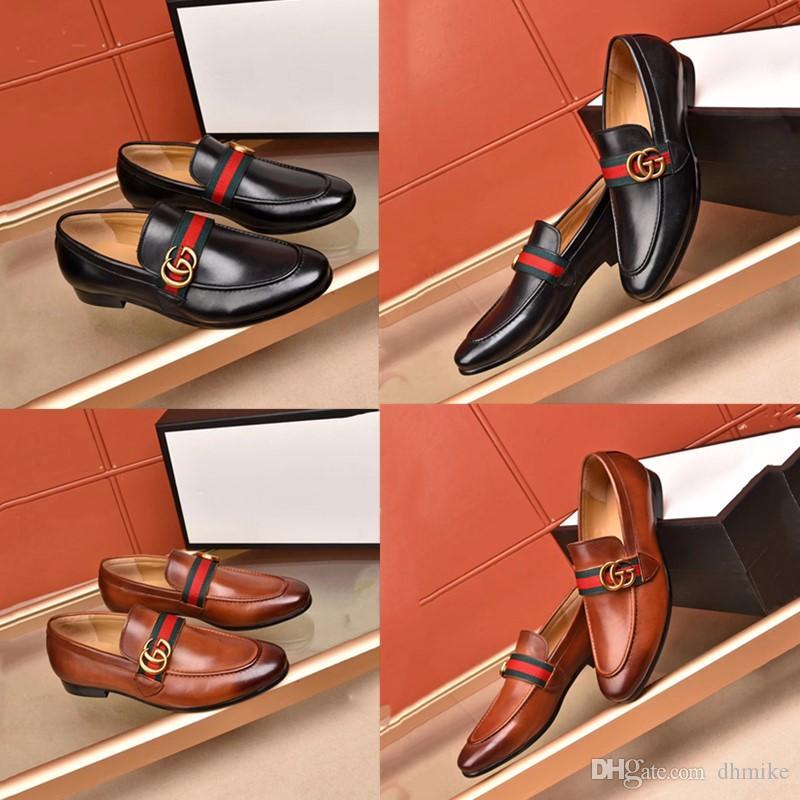 Chaussures habillées formelles de haute qualité pour les marques de luxe douces pour hommes, chaussures en cuir véritable, bouts pointus, chaussures