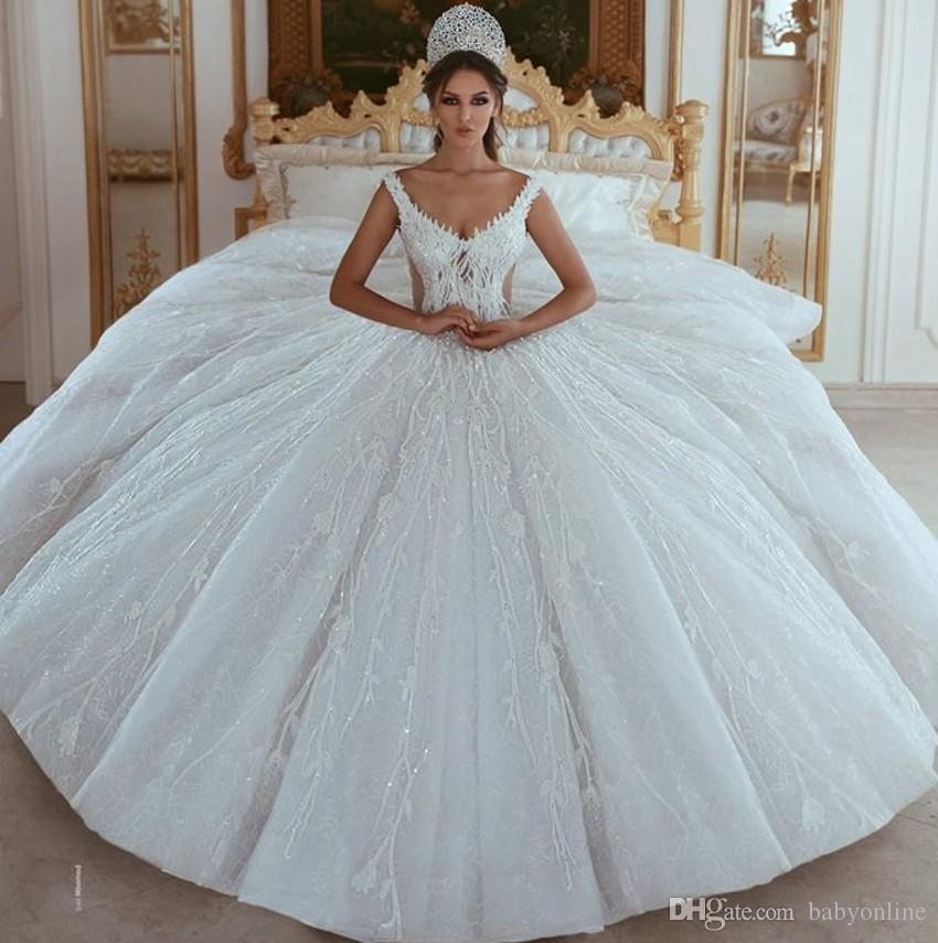 dda9df4693a Luxurious Beaded Sequined Appliques Ball Gown Wedding Dresses 2019 Stunning  Off Shoulders Arabic Dubai Bridal Gowns Designer Dresses Dresses For Women  From ...