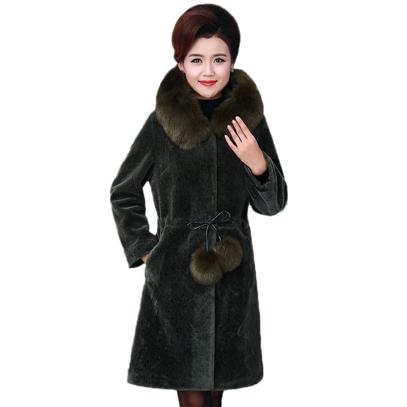 42de076d9b3 Winter Coats Middle-Aged Women Fur Jacket New Medium Long Hooded Cashmere  Outerwear Large Size Xl-5Xl Imitation Fur Coat DT0445 Online with   213.31 Piece on ...