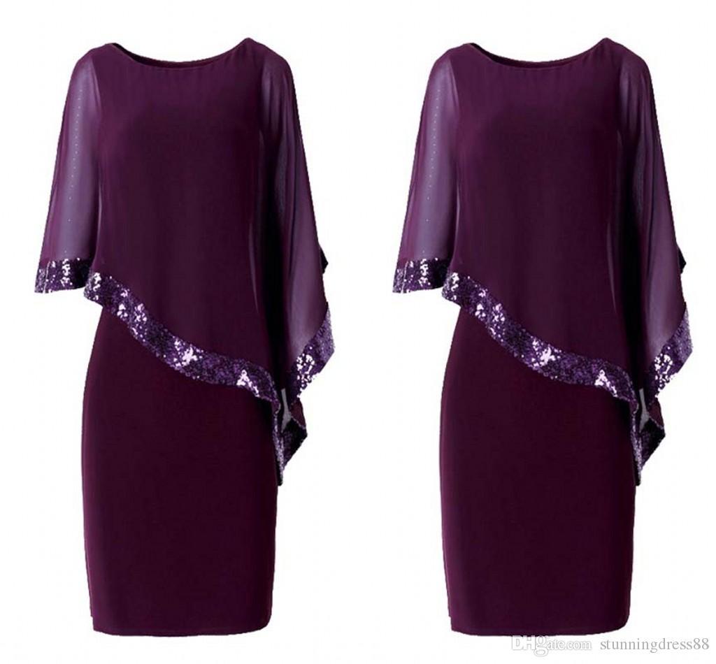 gro handel moderne lila kurze mutter der braut br utigam kleider jewel neck chiffon mantel
