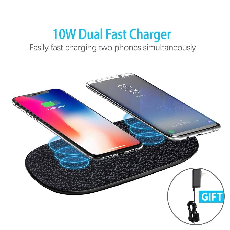 Fast Charger Wireless 10w Nillkin per 2 Telefono Qi Wireless Charging Pad per iPhone XS / X / 8 mi 9 Per adattatore S10 regalo / Samsung S8 / S9