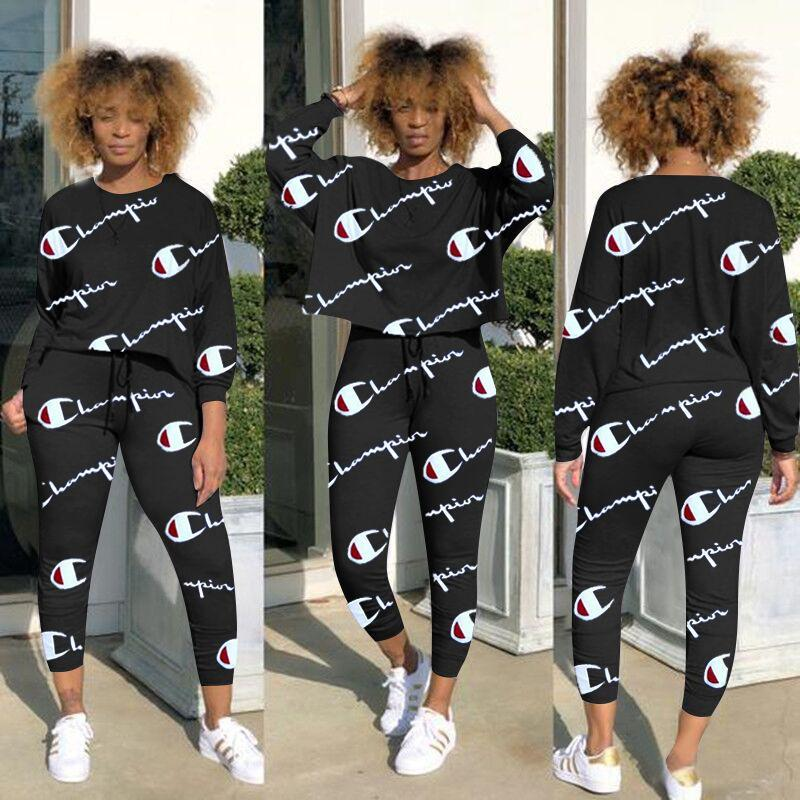 4edd290f2 2019 Plus Size Champion Brand Women Tracksuits Ladies Luxus T Shirt Pants  Set Tracksuit Sportswear Women Autumn Outfits From Kidsclub, $13.17 |  DHgate.Com