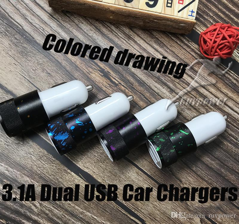 Colored drawing 3.1A Dual USB Port Car Chargers Portable Travel Charger Rapid Auto Adapter for iPhone X 8 7 6 plus