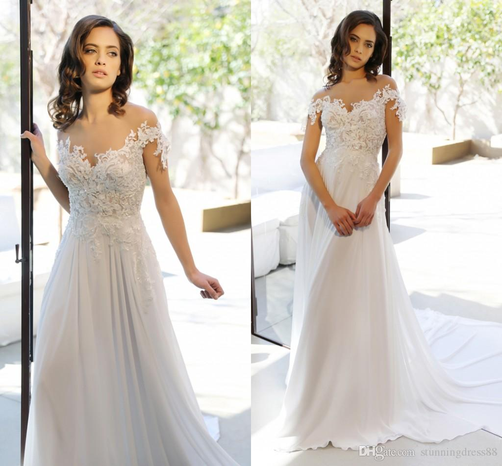 Best Sale 2020 Boho Wedding Dresses Off the shoulder with Applique Sleeves Chiffon Country Wedding Dress Bridal Gowns Cheap