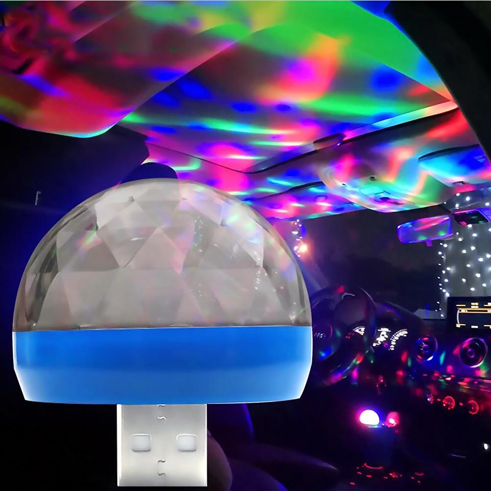 Mini Portable USB Crystal Magic Ball Disco Light LED Colorful Effect Sound Control Stage Lamp Home Party Decoration