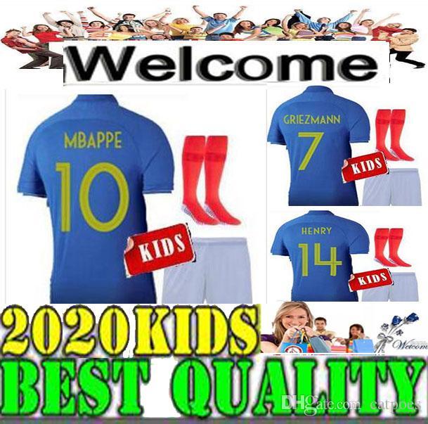 3f5c23218 10 MBAPPE 2019 France Kids Soccer Jerseys Home KIT Blue  6 POGBA ...