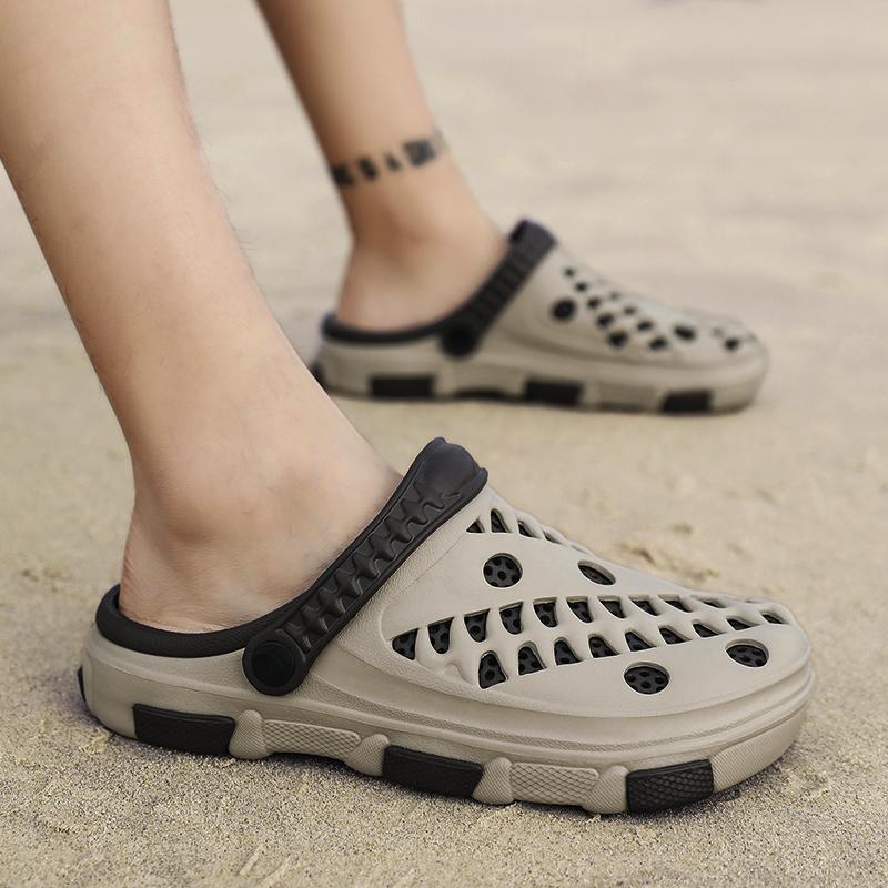 728d48891cc3 Playa antideslizante Sandalias al aire libre Zapatillas de verano Agujero  Moda Tendencia Hombres Zapatillas Personalidad Sandalias de desgaste ...