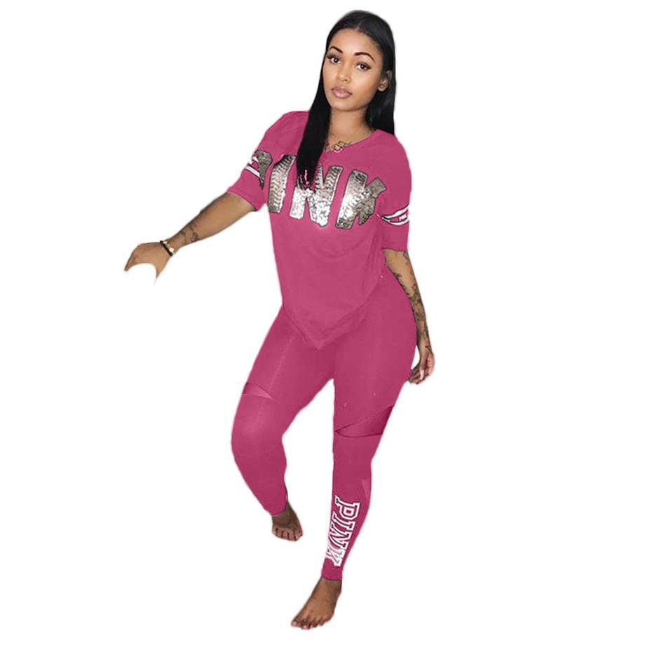 20d74ef0cfa ZKYZWX Plus Size Two Piece Set Women Sexy Short Sleeve Letter Print  Sweatsuits Top+Stretch Pants Sweat Suits Casual Tracksuit Online with   36.66 Piece on ...