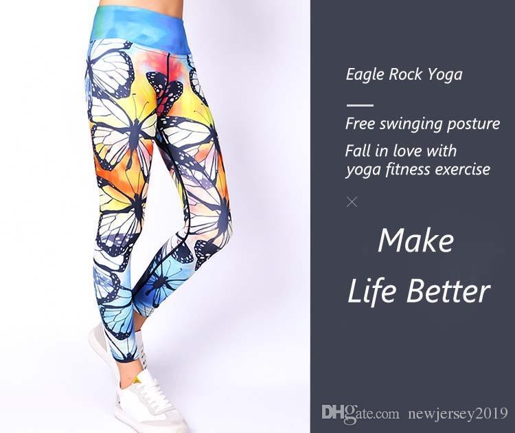 49b130d4e04d9 Women's Yoga Pants Blue Butterfly Print YOGA LEGGINGS Activewear for women  high waisted summer outfits fitness legging #256487
