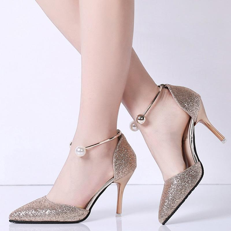 92bdb9cec1 Dress Spring Summer Women Bridal Shoes Metal Bead Buckle Strap High Heels Wedding  Shoes Gold Heeled Pumps Party Zapatos Heels Shoes Online From Deals44, ...