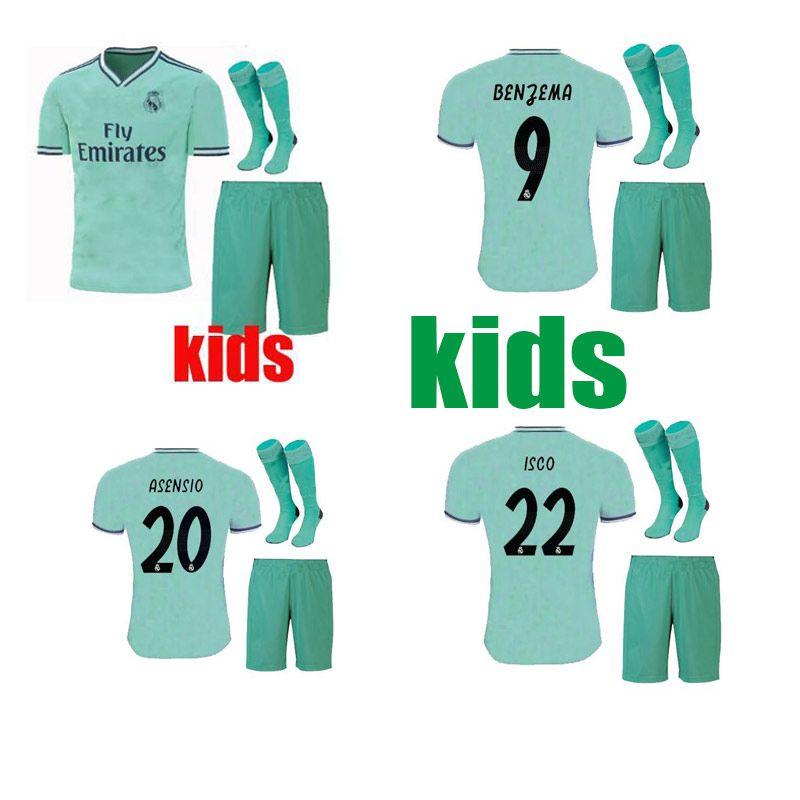online store 205db 226de kids kit 19 20 Real madrid Soccer jerseys THIRD GREEN 2019 2020 BENZEMA  MODRIC isco MARCELO bale ASENSIO camiseta de futbol FOOTBALL SHIRTS
