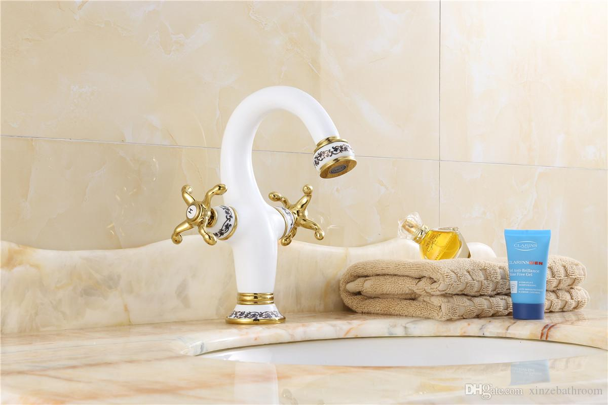 2019 Basin Mixer Taps Double Handle One Hole With Blue And White Porcelain  Bathroom Sink Faucet From Xinzebathroom, $124.13 | DHgate.Com
