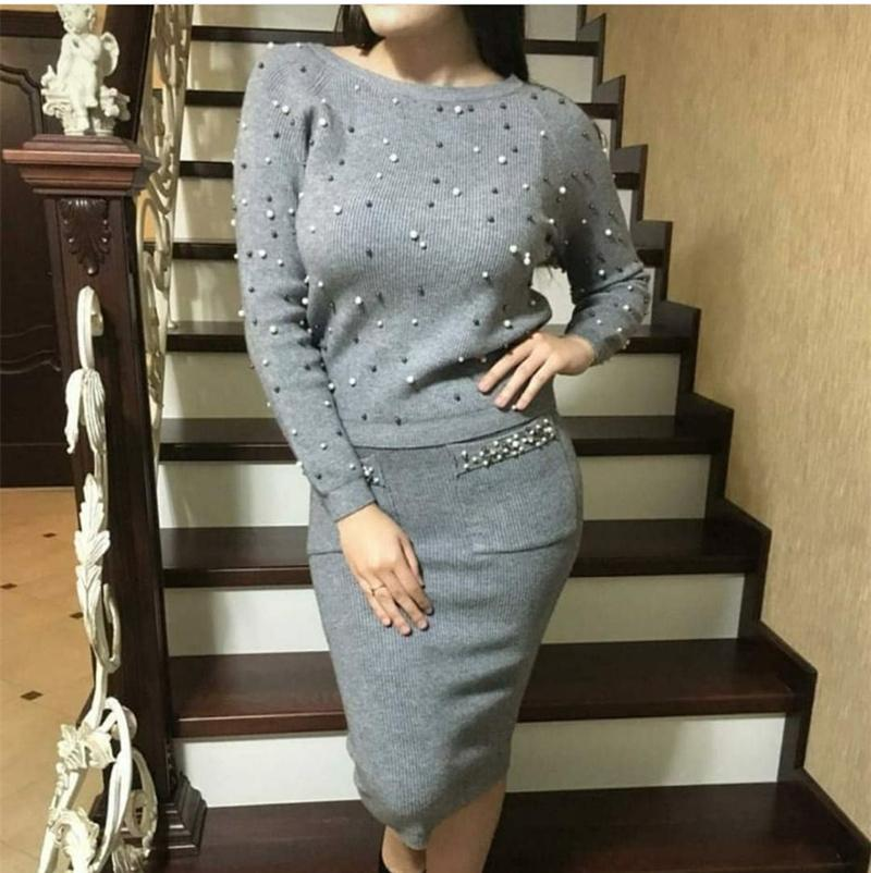 f9e253c64fa 2019 LUOSHA 2018 Autumn Winter New Women Two Piece Sweat Set Pearl Beading  Knitted Pullover +Pencil Skirt Women Elegant Suits C18121701 From  Lizhang03