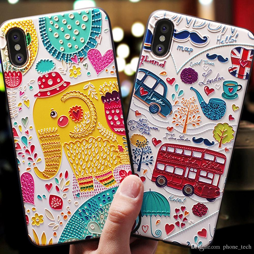 7d51c9a015 Cute 3D Phone Case Cartoon Patterned For Iphone X XS XS MAX 6S 7 8 Plus  Cases Soft Silicone Cover For Iphone TOP Leather Cell Phone Cases Phones  Cases From ...
