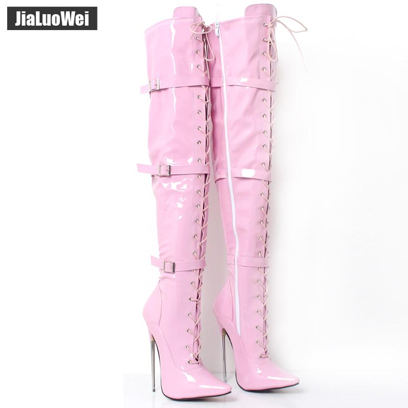 "Jialuowei Women 6 1/4"" Metal Spike Heel Fetish Sexy Thigh unisex Long Boots Previously Solid Dagger Patent PU Leather Shoes"