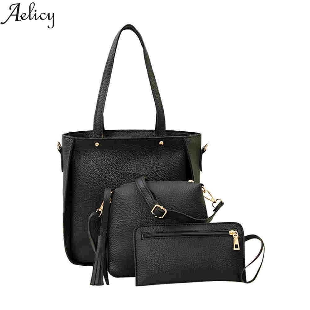 ed9d10d26b0c Designer Aelicy High Quality 3 Set Women Handbag Large Tote Bag Shoulder  Crossbody Bag with Soft Artificial Leather Female Messenger Bags