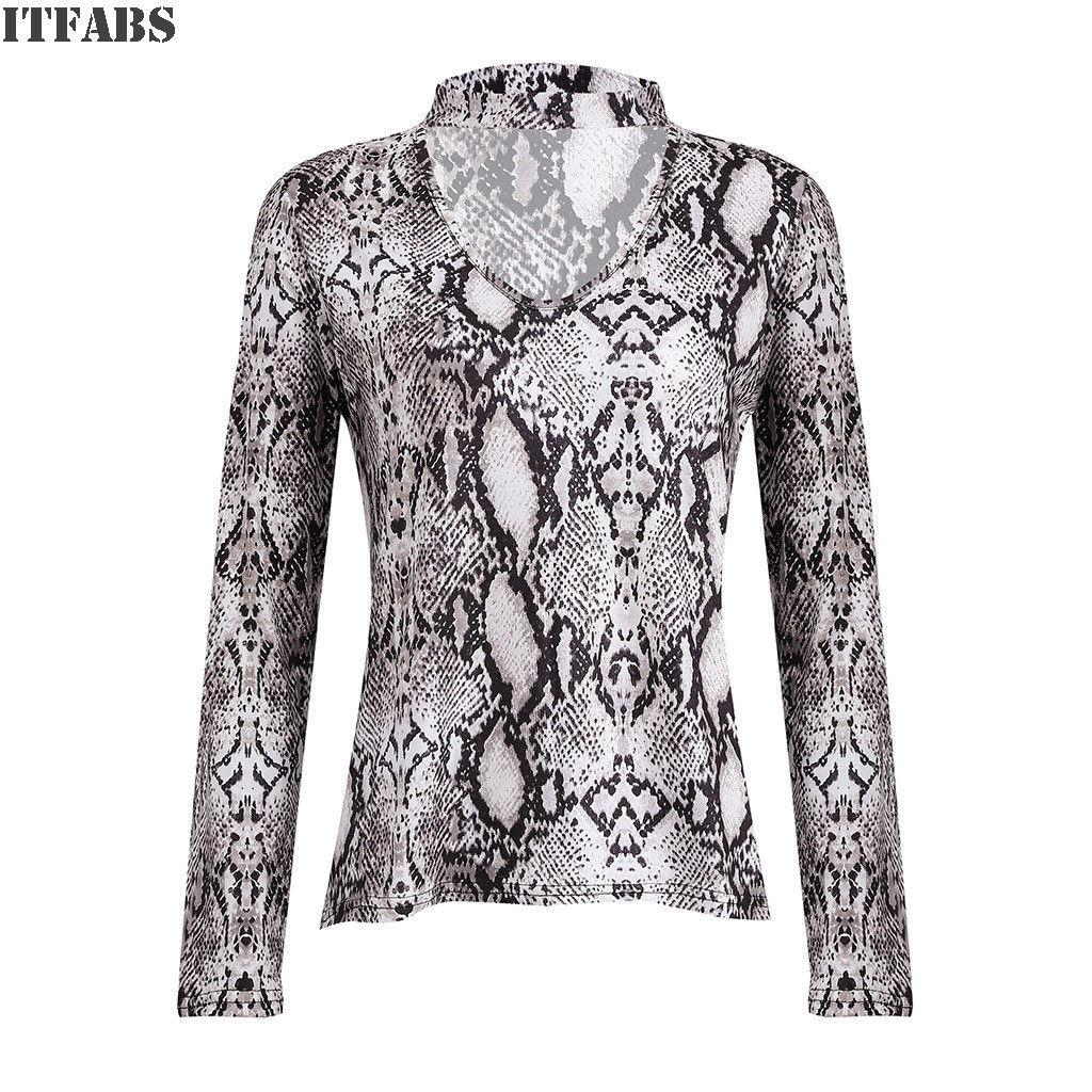 c110ed4f Women Choker V Neck Casual Lace Up Longsleeve Leopard Pullover Tops T Shirt  Snakeskin Print Casual Tops Clothes T Shirt Shopping Awesome Tee Shirts  From ...