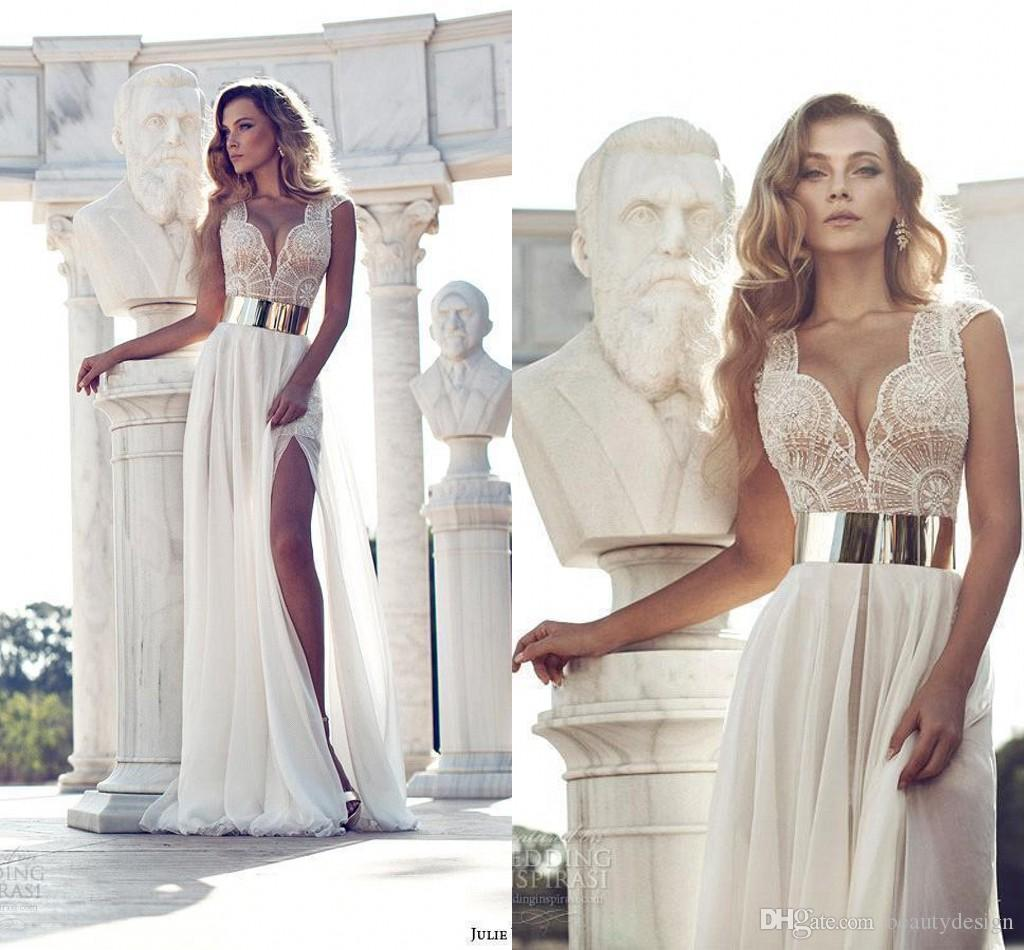 Discount Julie Vino 2019 Lace Wedding Dresses With Cap