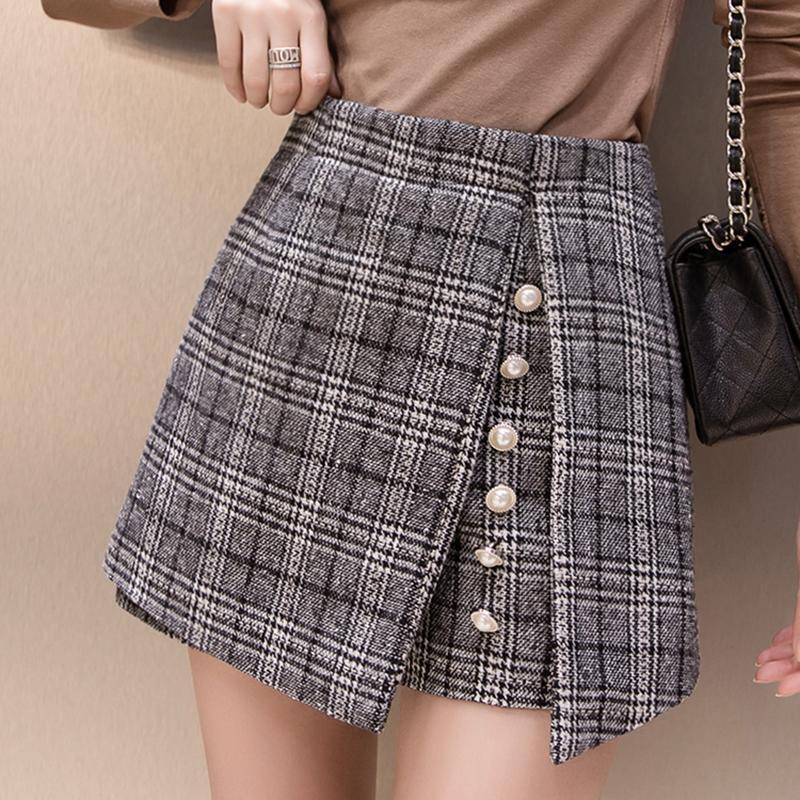 3128b537141 2018 Winter Woolen Shorts Women High Waist Button Plaid Skirt Shorts ...